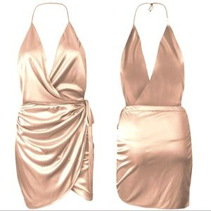 BRAND NEW Satin Dress Oh Polly Holy Wrap Dress NWT
